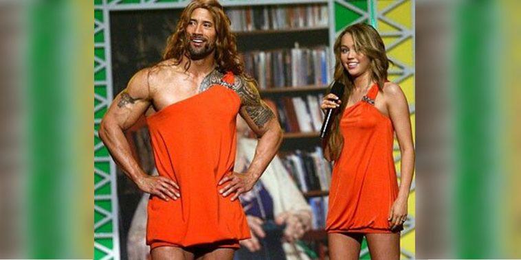 Dwayne Johnson Dressed As Miley Cyrus For Nickelodeon Kids